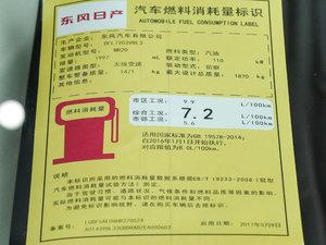 2017款2.0L XL Upper智尚版 工信部油耗标示
