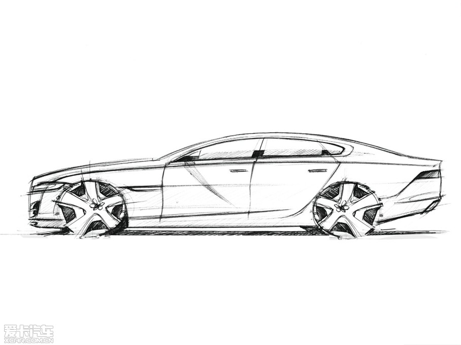 汽车捷豹手绘图片线稿