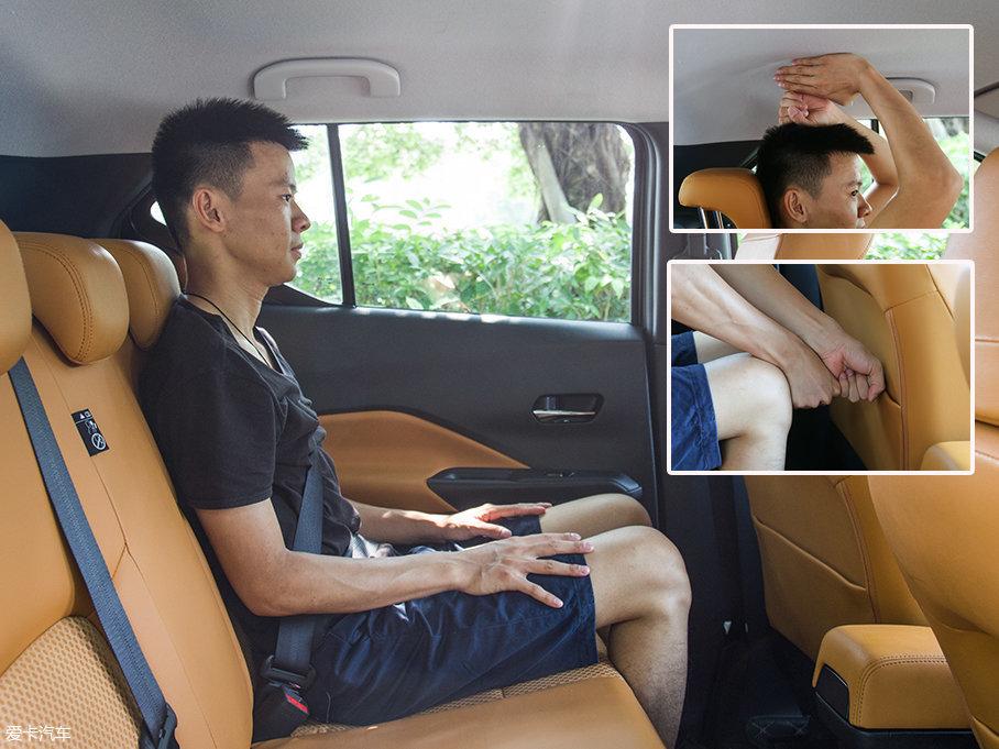保持前排座椅位置不变,身高173cm的体验者来到劲客的后排,头部空间有一拳四指,腿部也有两拳的空间,整体表现也相当不错。