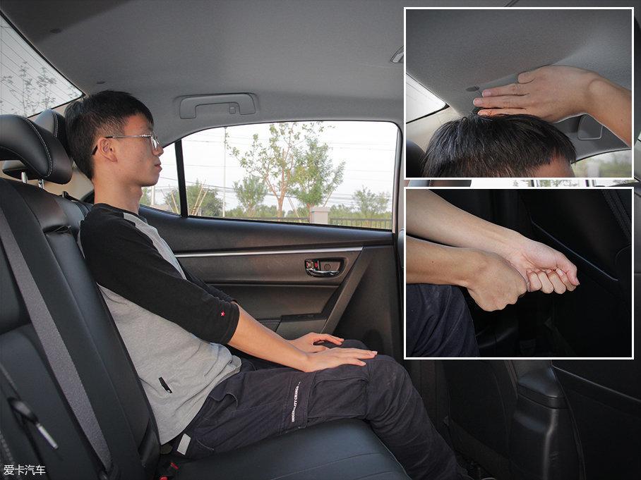 保持前排不变的情况下,体验着移动至后排,头部仅有三指的剩余空间,而腿部则有两拳以上的剩余空间,可见2700mm的轴距对于车内乘坐空间的充足相当重要。