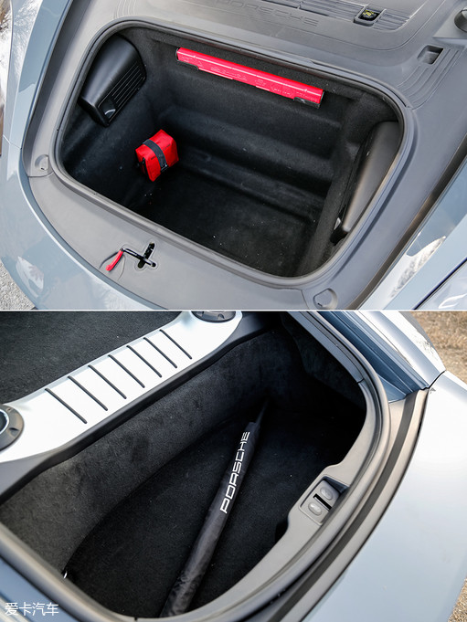 718 Caymans S前、后备厢加在一起的容积能达到425L,对于一部身材小巧的双门跑车来说实属难得,普通的三厢家用轿车后备厢容积也不过如此。