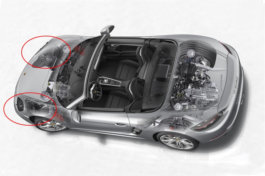 发动机的主散热器依旧被布置在车头两侧的进气口,用车头最大的撞风效果来保证发动机的散热效率。