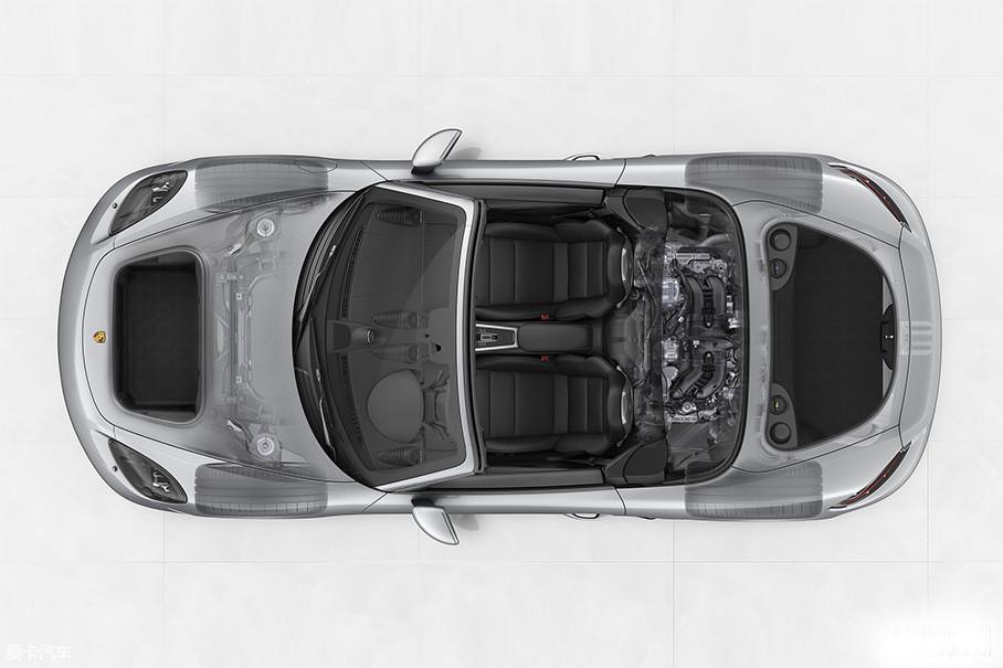 从这张图中你能看到保时捷718恪守了超级跑车最传统的中置后驱布局,在如此紧凑的车身中,在放下发动机、变速箱之后,还能腾出一个空间尺寸不算小的后备厢,不得不说,来自斯图加特的这帮工程师们真的不简单。