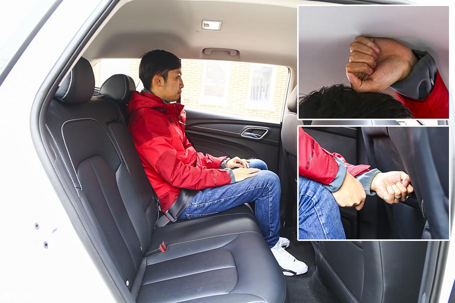 保持前排座椅位置不变,体验者来到后排,由于Ei5在车顶与前排座椅后侧均采用了凹陷设计,因此头部空间仍可保持一拳左右,而腿部空间则相当充裕。