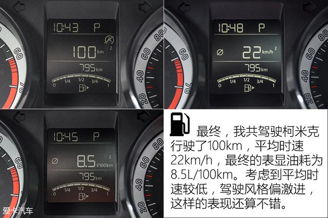 综合百公里油耗7.5L 斯柯达柯米克测试