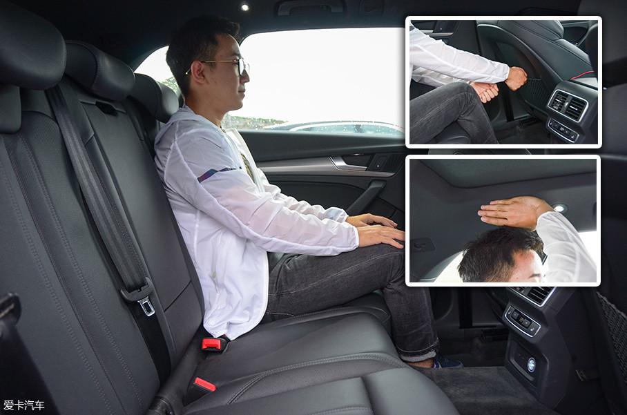 维持前排座椅不动,后排腿部空间为2拳半,头部空间为4指。空间非常宽裕,腿部的空间表现可媲美奥迪A6L。