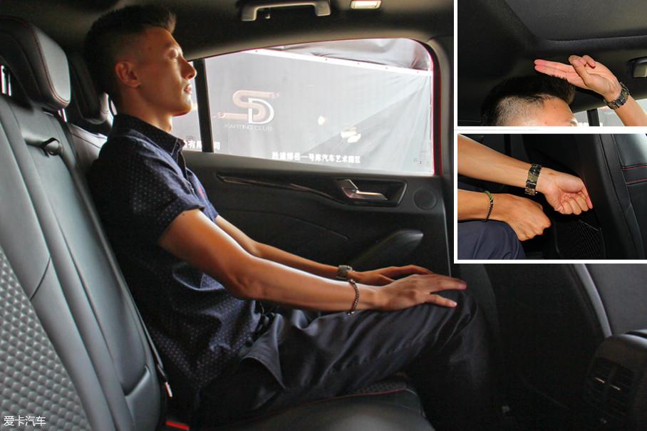 同一体验者测得后排腿部空间为两拳多,头部空间为两指。腿部空间没得说,毕竟车身也长了轴距也长了,这个表现应该有。