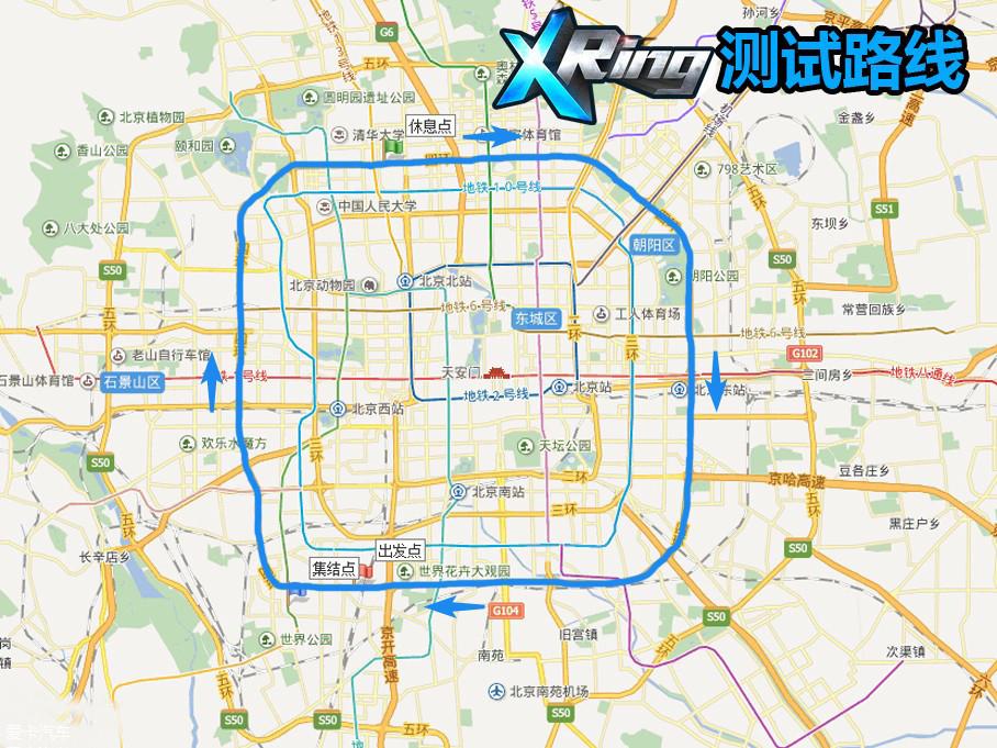 在测试路线上,我们选择了X Ring油耗测试的经典路线:北京四环。不过由于时间和人手有限,我们并没有进行24h的测试,而是绕着四环跑了2圈。测试当天是多云天气,气温约24℃。