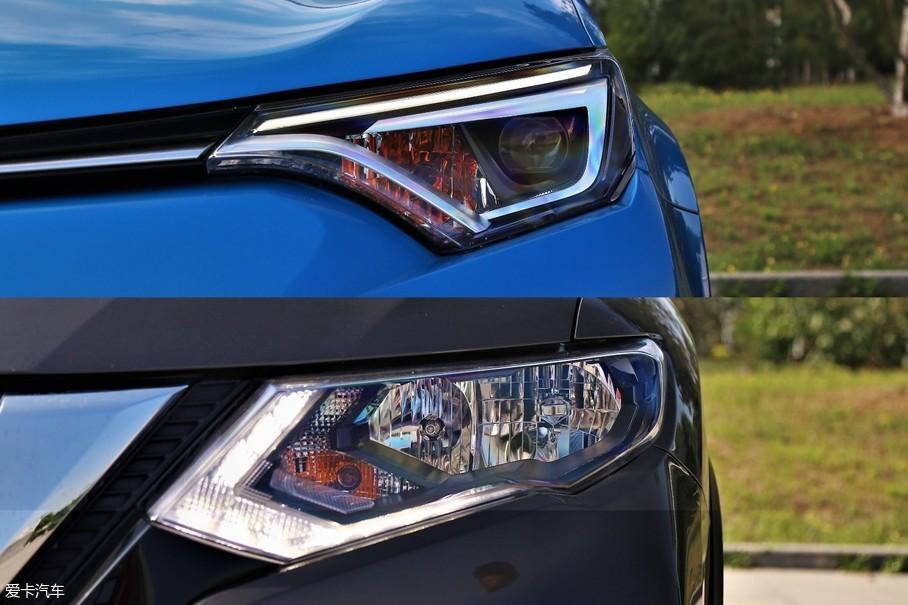 两款车都配备了LED日间行车灯,但RAV4荣放2.5L版本全系标配远近光一体式LED大灯,无论是视觉效果还是照明效果都非常不错。而奇骏全系仅有2.5L旗舰版车型才配备LED大灯。