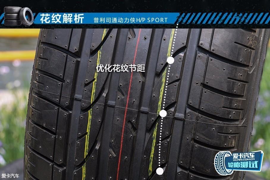 动力侠H/P SPORT的胎面花纹经过先进的自动优化设计,将花纹节距合理排列,从而降低轮胎在行驶时接触地面所产生的胎噪。后面的动态测试中,我们就实际测试了这款轮胎在行驶时的噪音情况。