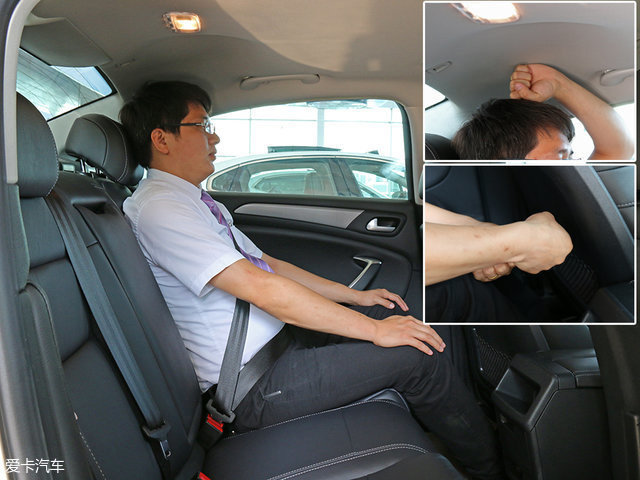 保持前排座椅位置不变,同一名模特移步后排,此时头部剩余一拳的距离,而腿部则有着超过两拳的优秀空间表现。