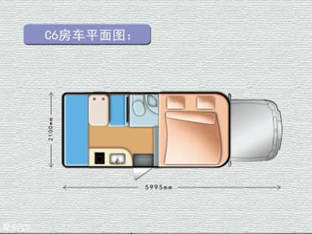 平面图展示的是车厢内部的整体结构,最右侧是一个顶置双人床,最左侧是一个后置单人床。中部分别为独立卫生间、双人对坐沙发(可拼床)、手动升降桌、以及带有电磁炉和不锈钢水池(配有玻璃盖)的小厨房。