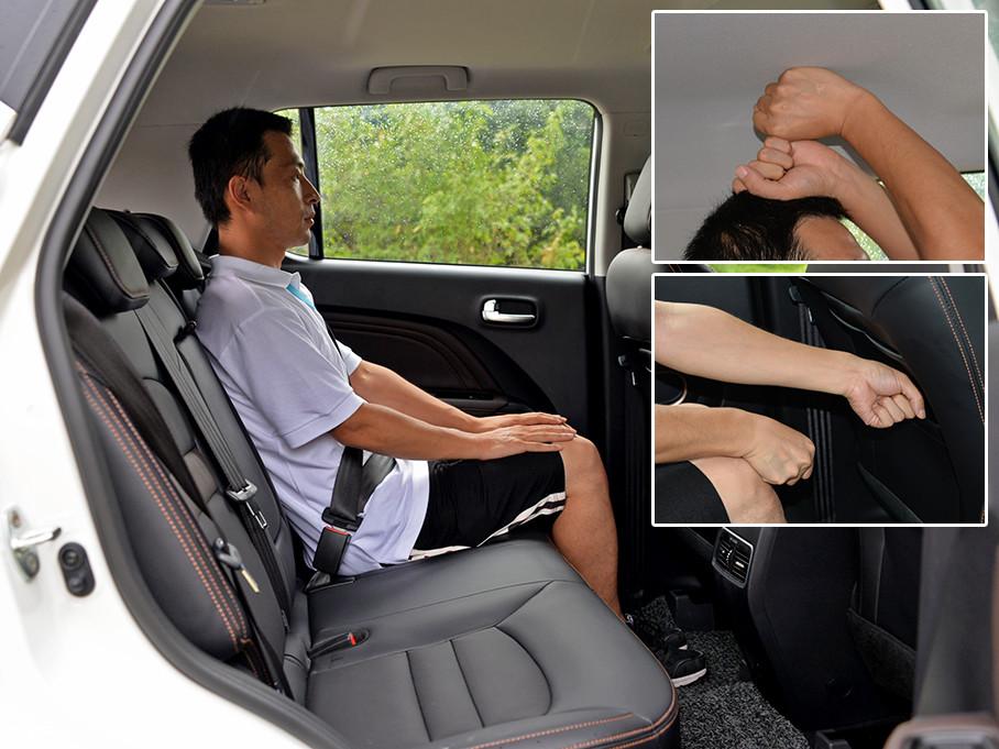 同一体验者进入后排,保证前排座椅位置不变,头部大概拥有两拳的剩余空间,腿部为两拳有余的空间,拥有较好的乘坐体验。