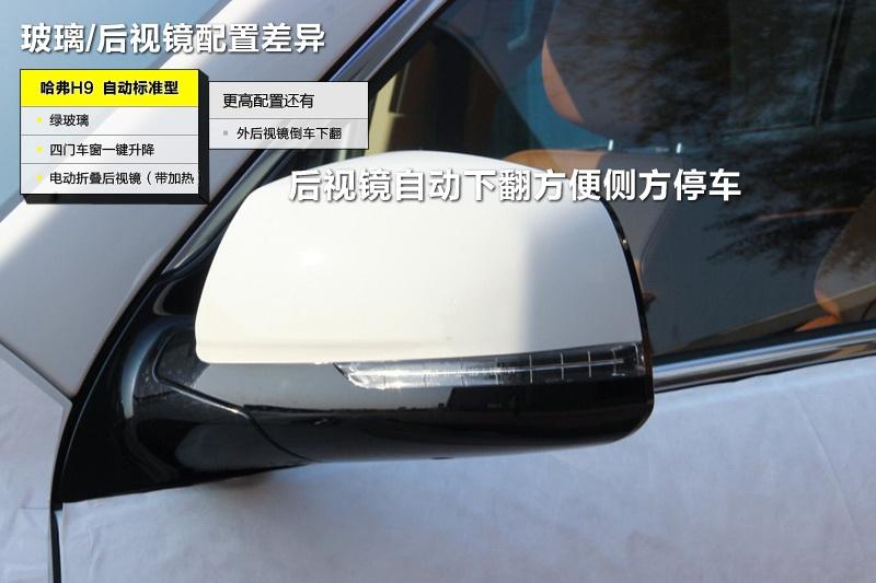 高配车型带有倒车后视镜下翻功能