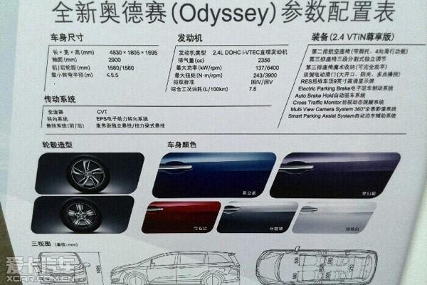 广汽本田新奥德赛推5款车型 8月7日上市