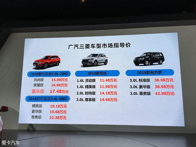 新款三菱欧蓝德售15.98万起