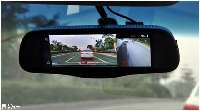 标线前车,以及显示撞上去需要的时间-明镜X93后视镜导航 汽车夜视高清图片