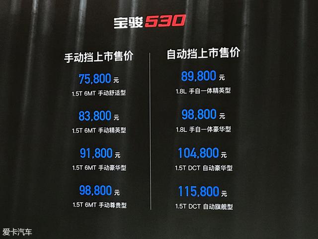 宝骏530正式上市 售价7.58-11.58万元