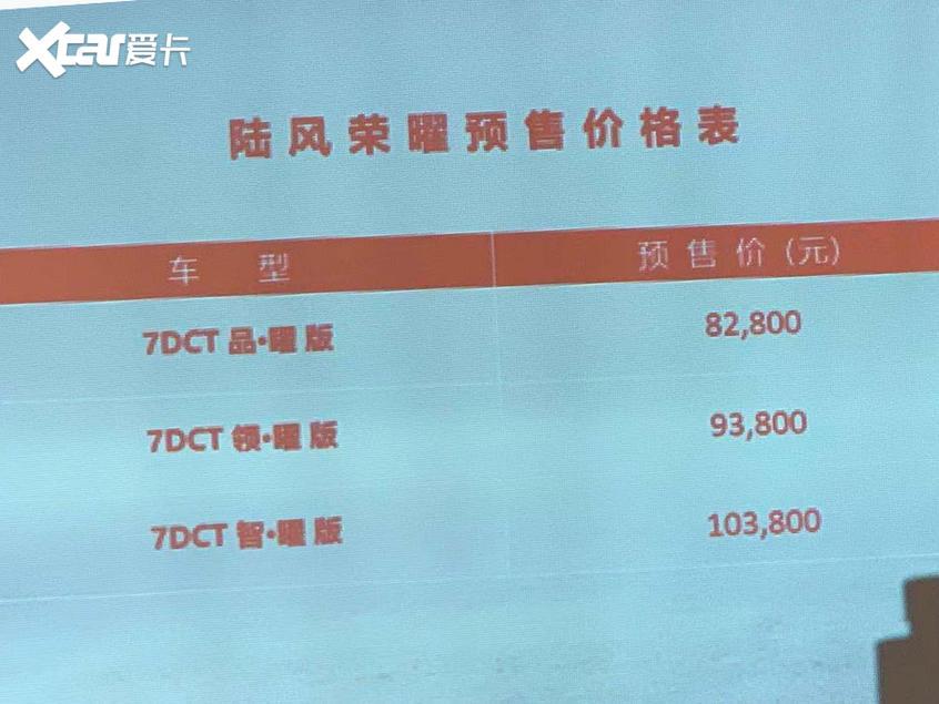 陆风荣曜预售价公布 预售8.28-10.38万
