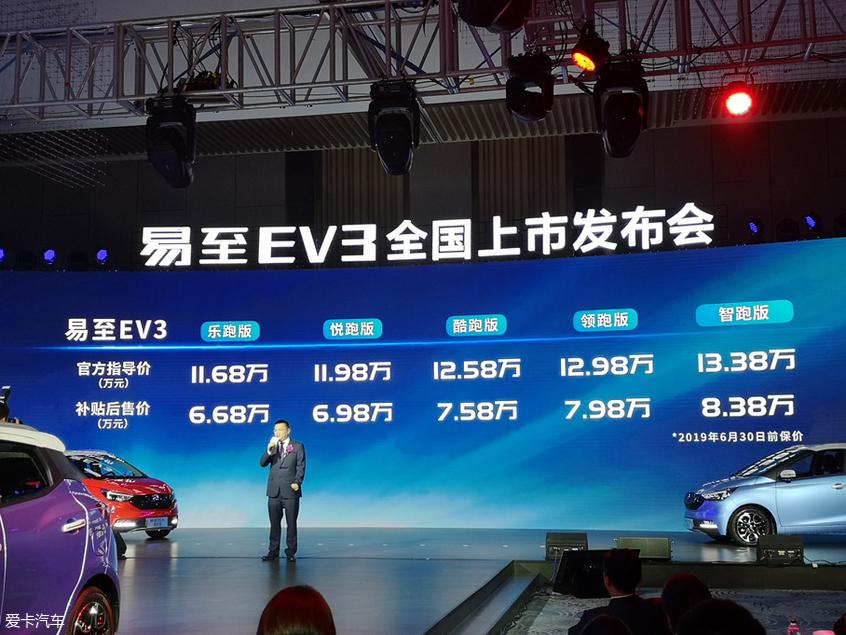 江铃新能源易至EV3上市 补贴后6.68万起