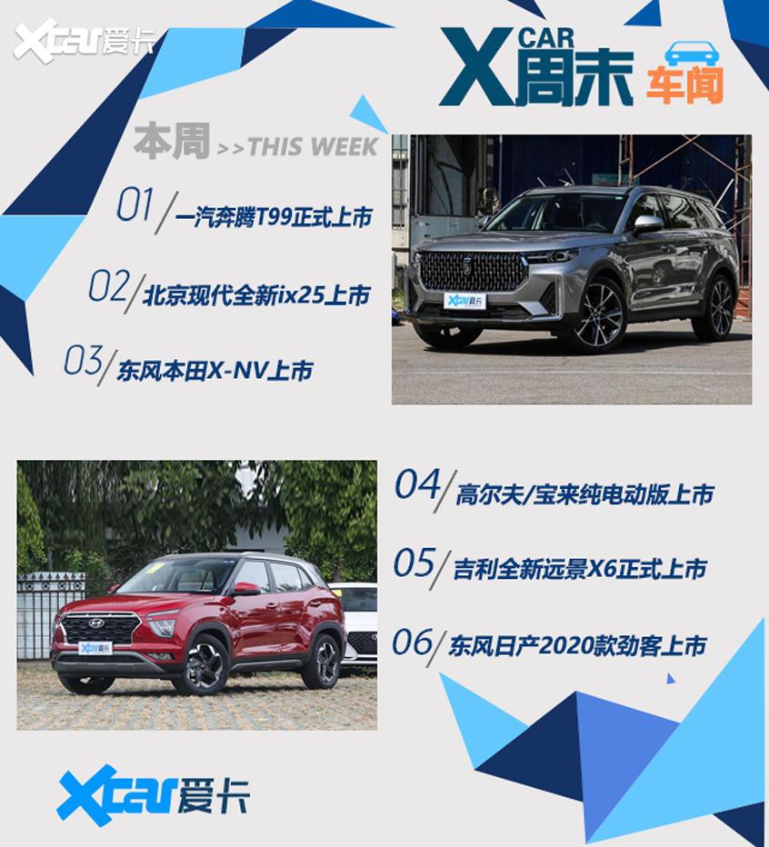 周末车闻 奔腾T99/现代ix25等SUV上市