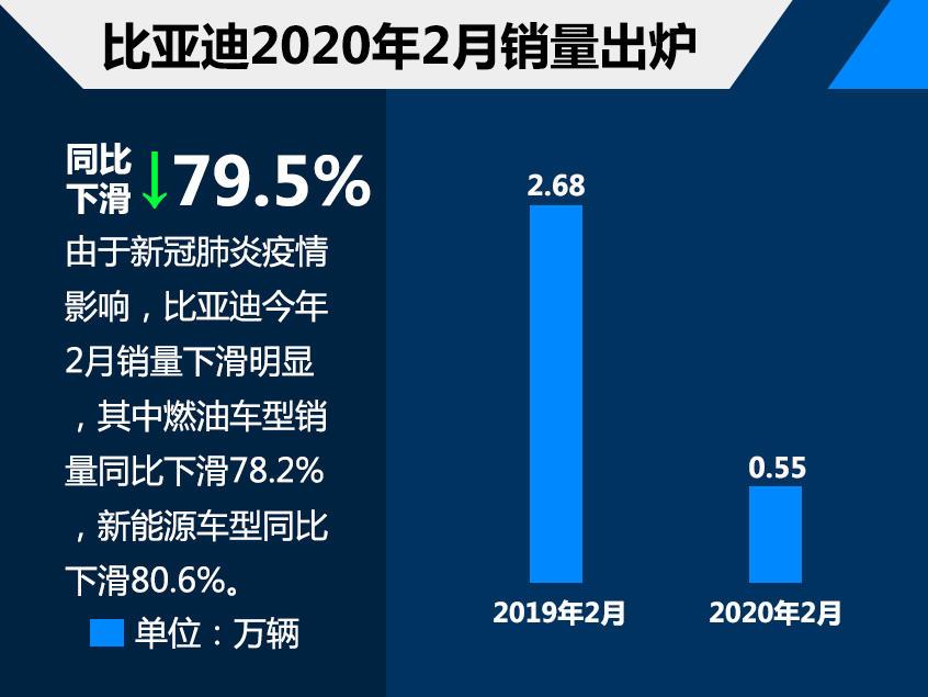 比亚迪2月份销量5501辆 同比下滑79.5%