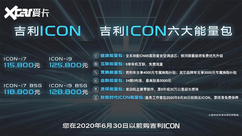 吉利全新SUV—ICON上市售11.58万元起