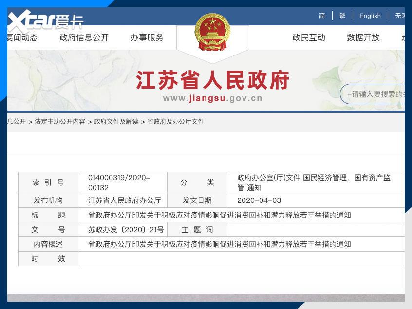 江苏省:要进一步提振汽车消费