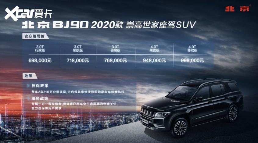 2020款北京BJ90上市 售69.8-99.8万元