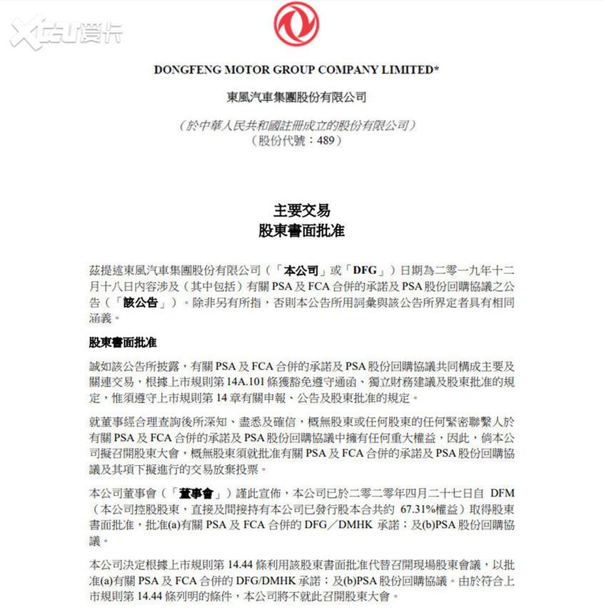 东风集团:赞成PSA与FCA合并/减持PSA股份