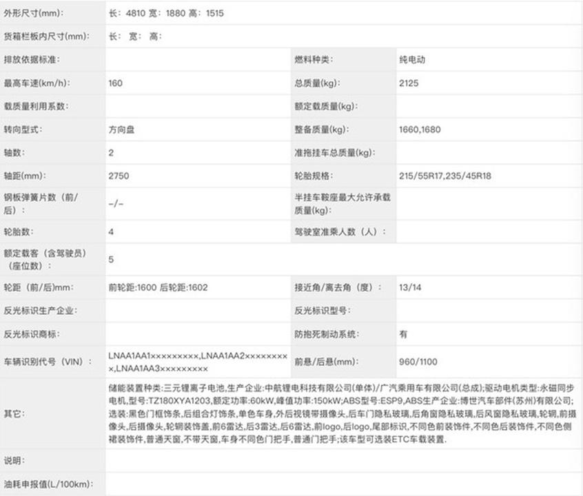 广汽埃安新款Aion S申报图 新设计语言