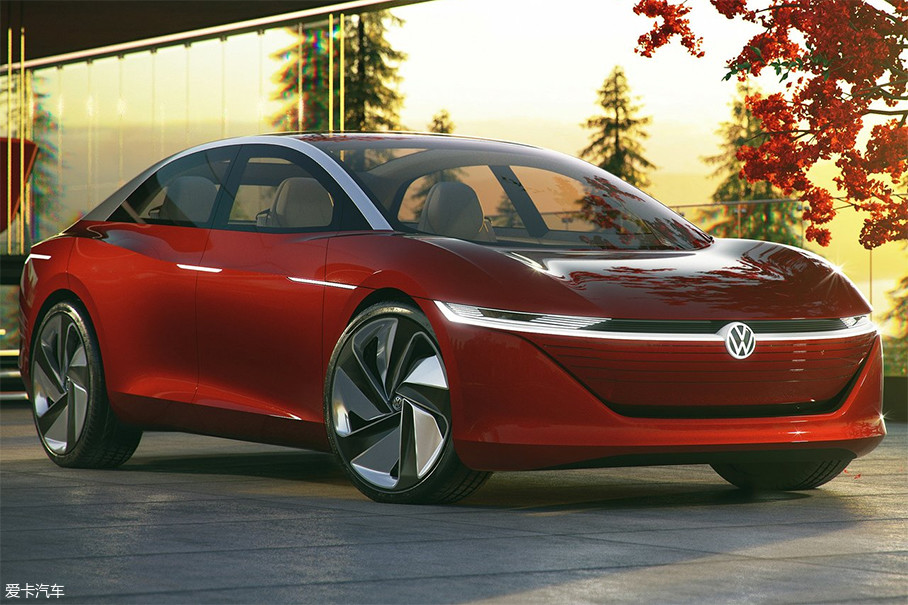 I.D.VIZZION车身表面采用了电子产品的设计手法,尽可能减少断面。虽然整车曲面非常干净,但体积关系却十分饱满。横穿车头的一字型灯带,拉宽了车头的视觉宽度。