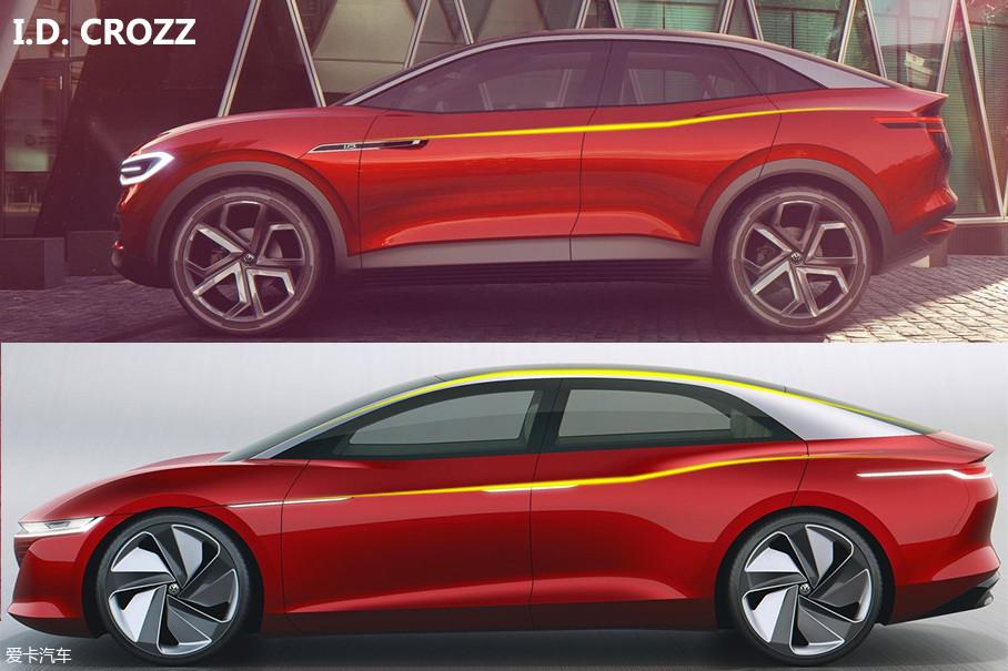 """车身比例强调""""拉伸""""关系,A柱设计较为靠前,C柱靠后,让整个车身的视觉效果更加修长。侧面线条犀利,与此前的I.D. CROZZ有一定传承关系。此外,以车灯代替镀铬的设计也十分新颖。"""
