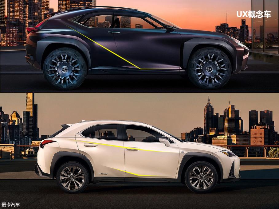 侧身方面,UX概念车上侧面具有突破性的连续曲面设计被完全取消,裙线设计也有所收敛,原本饱满有力的型面变得相对平庸。