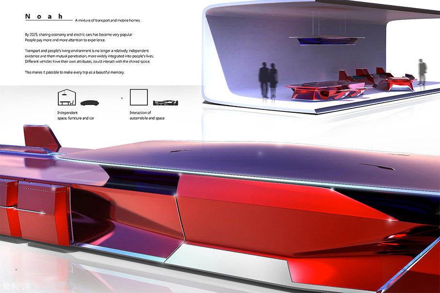 Noah是来自中国设计团队——醚设计实验室的作品,他们致力于研究交通、用户和环境之间的关系。他们认为体验设计是未来的一个重要趋势。计算机技术和制造技术的快速发展使我们站在所谓的视角面前,看待未来的交通发展。