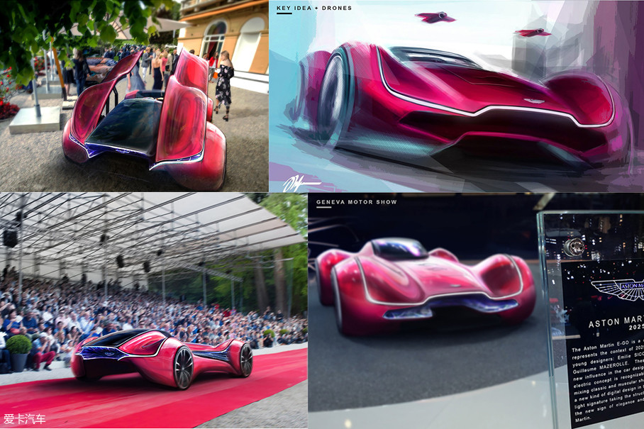 Aston Martin E-GO的发动机盖中配备了无人机,可以在各种活动现场以及场景中进行拍摄。此款车是对2025年社会和背景的描述,它将成为2025年的标志性车型。