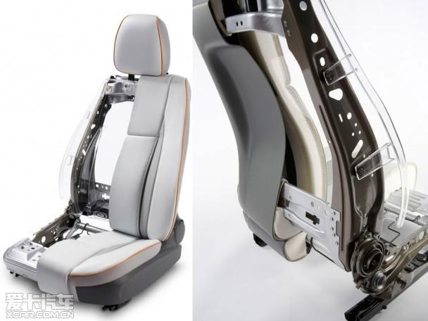 轻质座椅结构 在保证舒适性、安全性的同时,为了节省车内空间、提高燃油经济性,座椅的轻量化也已经成为新的发展趋势。为了更大限度的提升腿部及储物的空间,座椅厂家开始采用一种超高韧性发泡材料(SuRF)制成新型的超薄座椅,这种发泡材料在缩减厚度的同时,也优化了座椅的舒适性。
