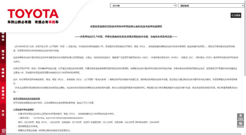 丰田;开放专利;混动技术
