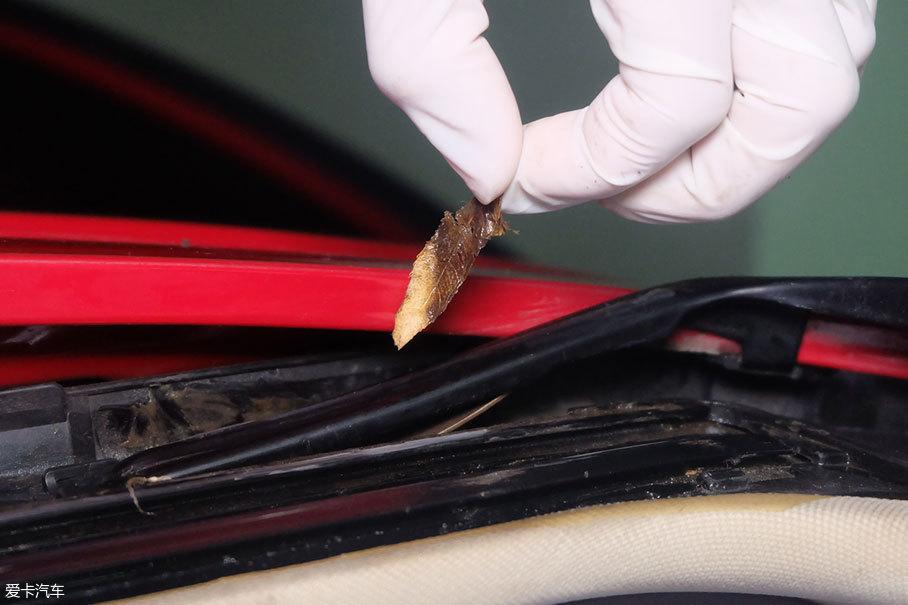 我们仔细观察滑轨的周边有一层厚厚的黄油,时间长了便沾满灰尘砂砾,在天窗运行时会家具滑动机构的磨损,如果有树枝等卷入滑轨是极有可能导致滑轨变形的。