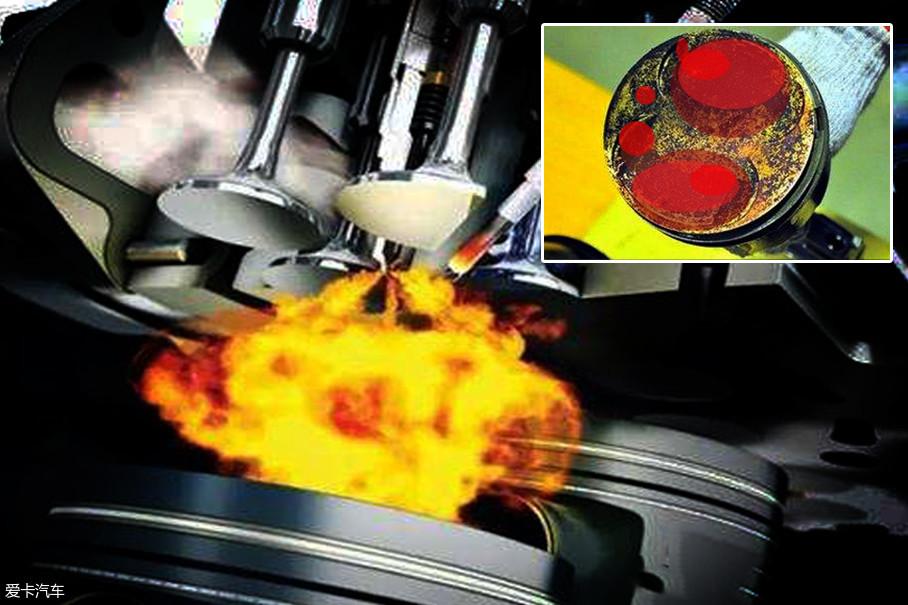 活塞顶部的积碳会吸附热量和汽油,形成一块块高温炙热点,当周围混合气浓度足够的时候,积碳会代替火花塞将其引爆。