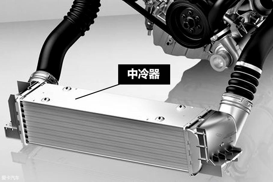 所以在涡轮增压器和节气门之间会设置中冷器,用风速降低进气温度。