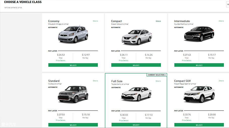 随后,一般根据随行人数而确定需要的车型。Full size(中型轿车)的车型最为经济实惠(通常是凯美瑞、天籁、雅阁等)。值得注意的是,若异地还车是需要缴纳很高服务费的。