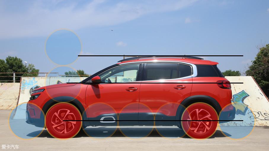 两车具有相同的车长和轴距,因此车轮比例图中得到一个定值。但两车侧面所呈现的主题完全不同,天逸C5的线条更加平直,前后灯基本在一个水平线上,营造出更加稳重大气的视觉效果。