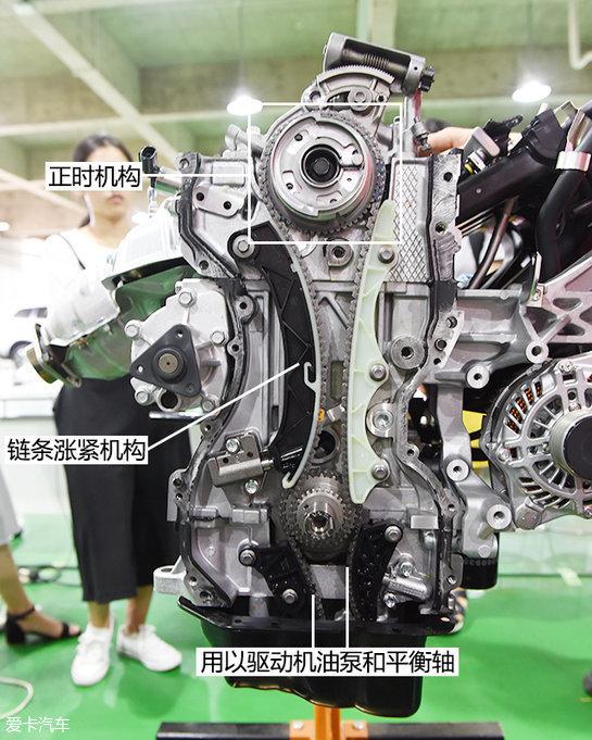 发动机曲轴输出端一方面用来驱动正时链条,另一方面来驱动机油泵和
