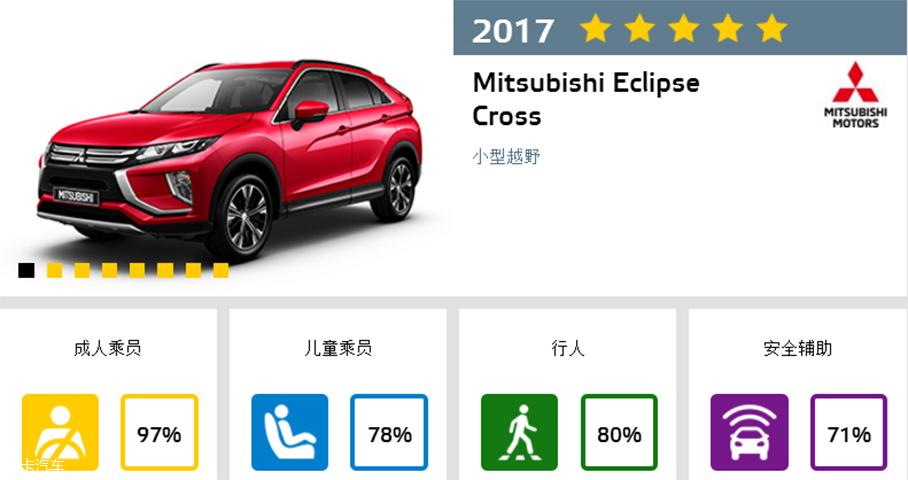 三菱奕歌;三菱Eclipse Cross;E-NCAP测试