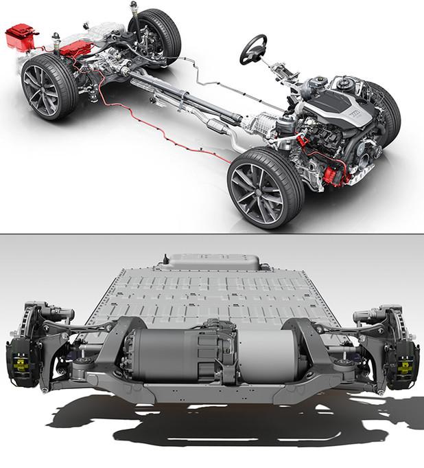 这两个驱动系统对应的车型分别为奥迪A6和特斯拉Model S,不难看出电气化进程对车辆结构的改变是非常巨大的。