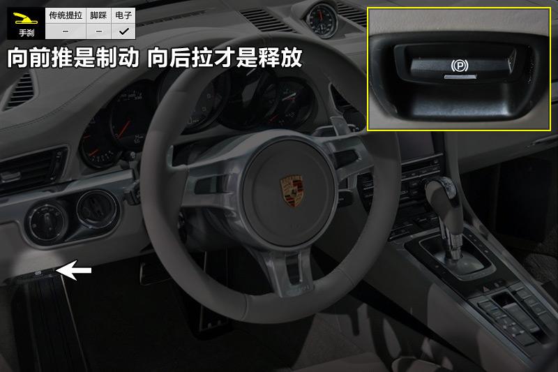 电子手刹在驾驶员左膝附近,使用方法和其他车有些不同,按下是制动,后