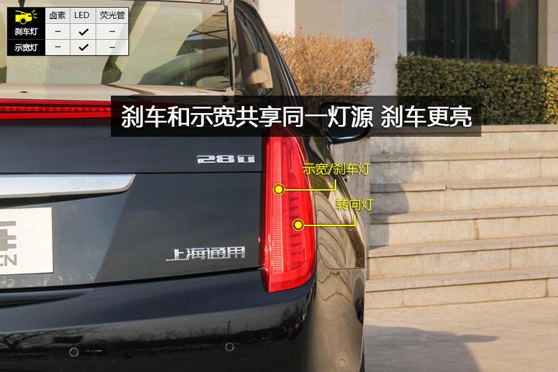 刹车灯和示宽灯共享同一光源,踩下刹车时灯变得更亮.