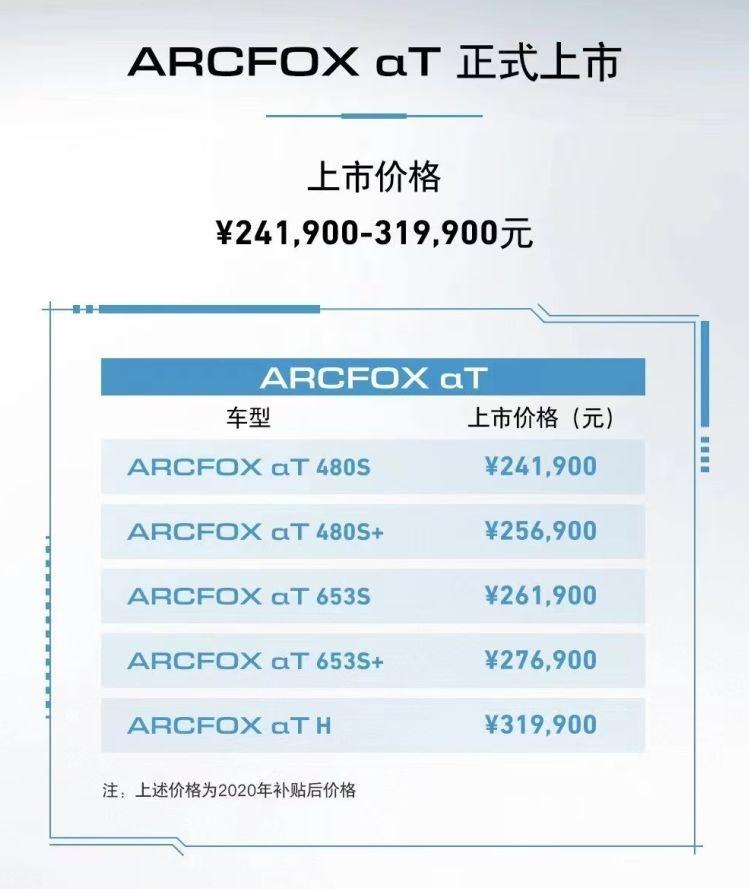 ARCFOXαT上市 零百加速4.6秒补贴后24.19万起