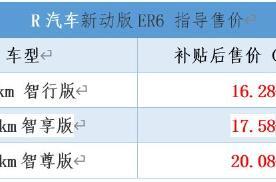 R汽车新动版ER6上市,售价16.28万起